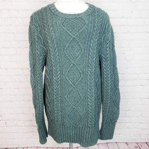 Banana Republic Green Ornate Knit Pullover Sweater